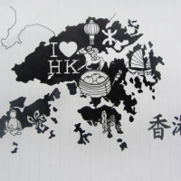 Ink drawing of HK